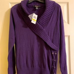 NEW Style&Co Purple Sweater Medium Lace Up Detail